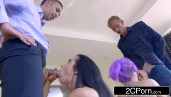 Busty mom Diamond Kitty fucks in threesome with hot young brunette